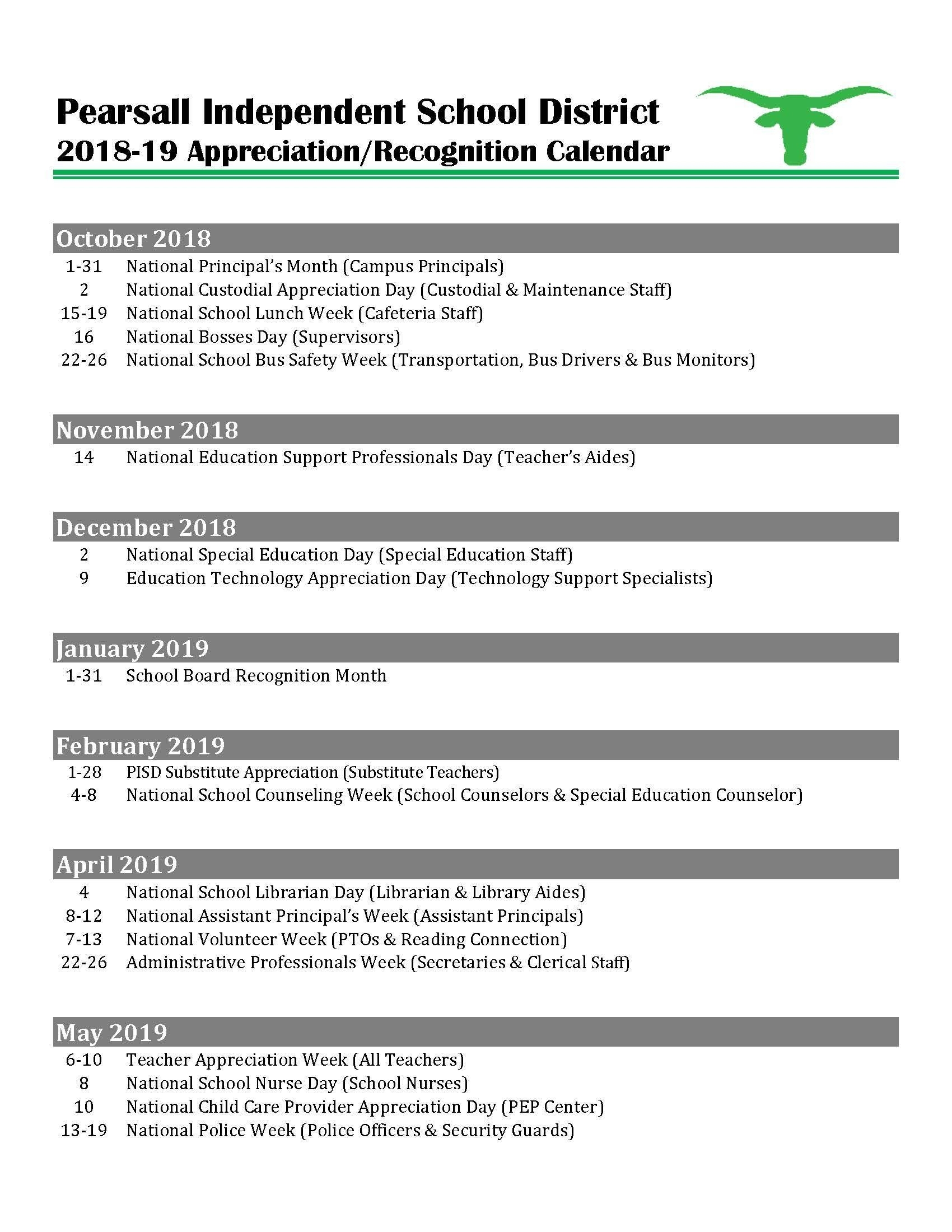 Employee Appreciation/recognition Calendar – Human Resources with regard to Calendar Of Nursing Recognitin Days