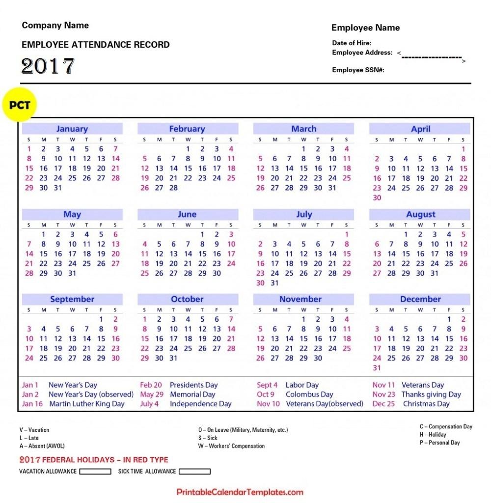 Employee Attendance Calendar Template 2016 - Calendar in Free Printable Employee Attendance Calendars