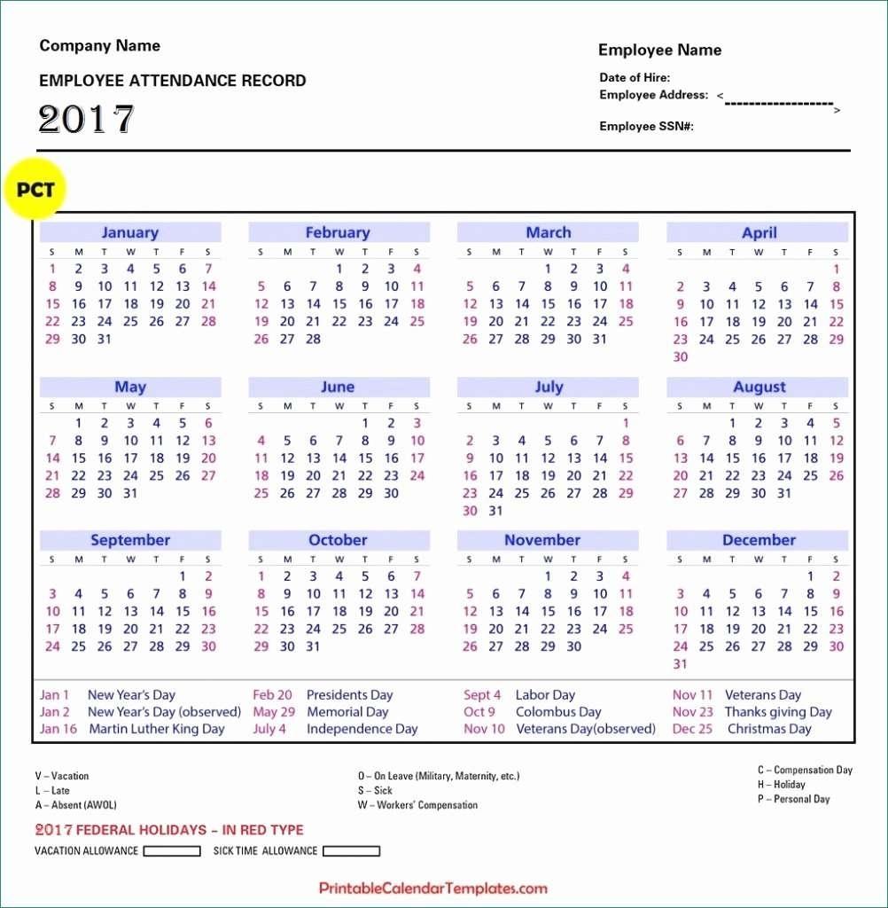 Employee Attendance Records Gorgeous Employee Attendance Calendar for Printable Employee Attendance Calendar Template