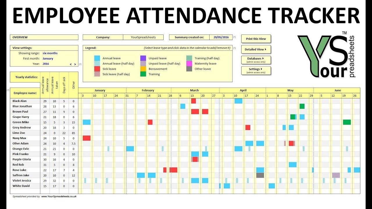 Employee Attendance Tracker Spreadsheet - Youtube for Employee Annual Education Training Tracking Spreadsheet