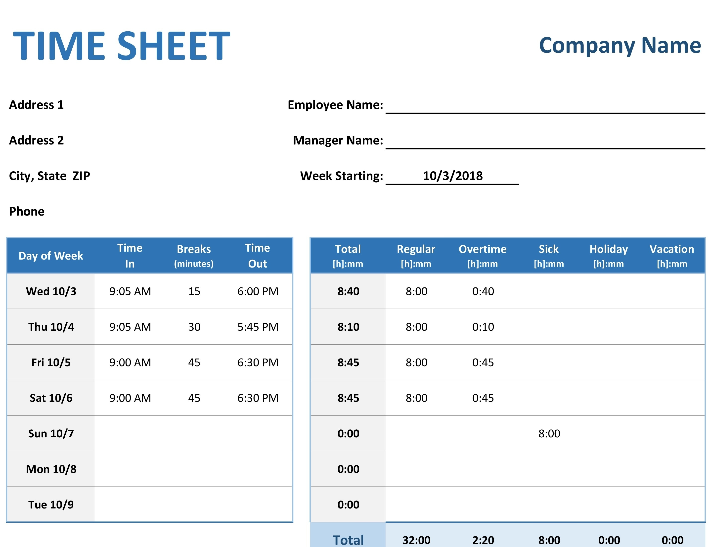 Employee Time Sheet (Weekly, Monthly, Yearly) throughout Blank Employee Attendance Calendar Monthly