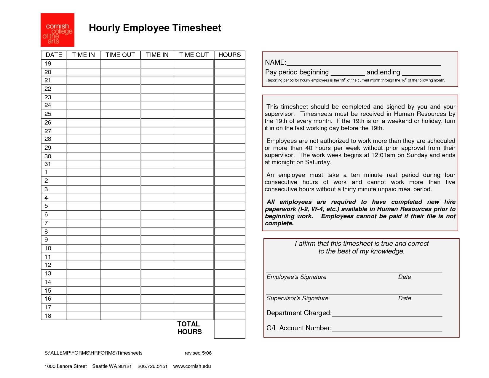 Employee Timesheet Template | Generic Hourly Employee Timesheet with regard to Printable Blank Hourly Income Worksheet