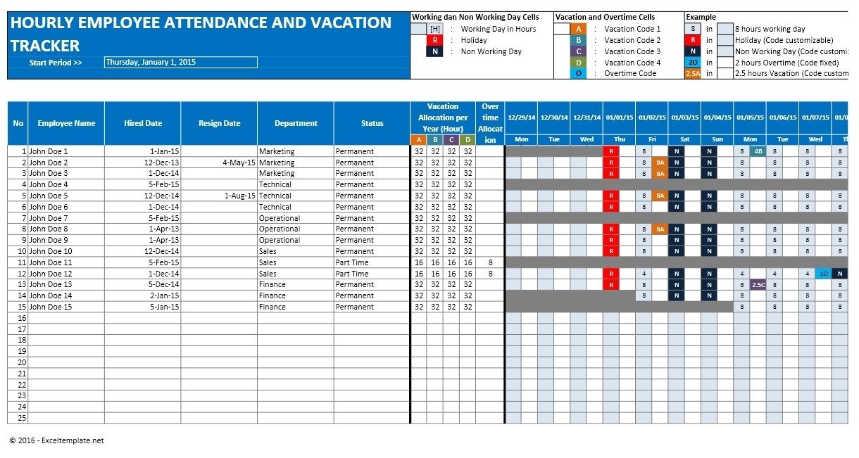 Employee Vacation Planner Template Excel | Printable Planner Template with regard to Excel Employee Attendance Calendar Template