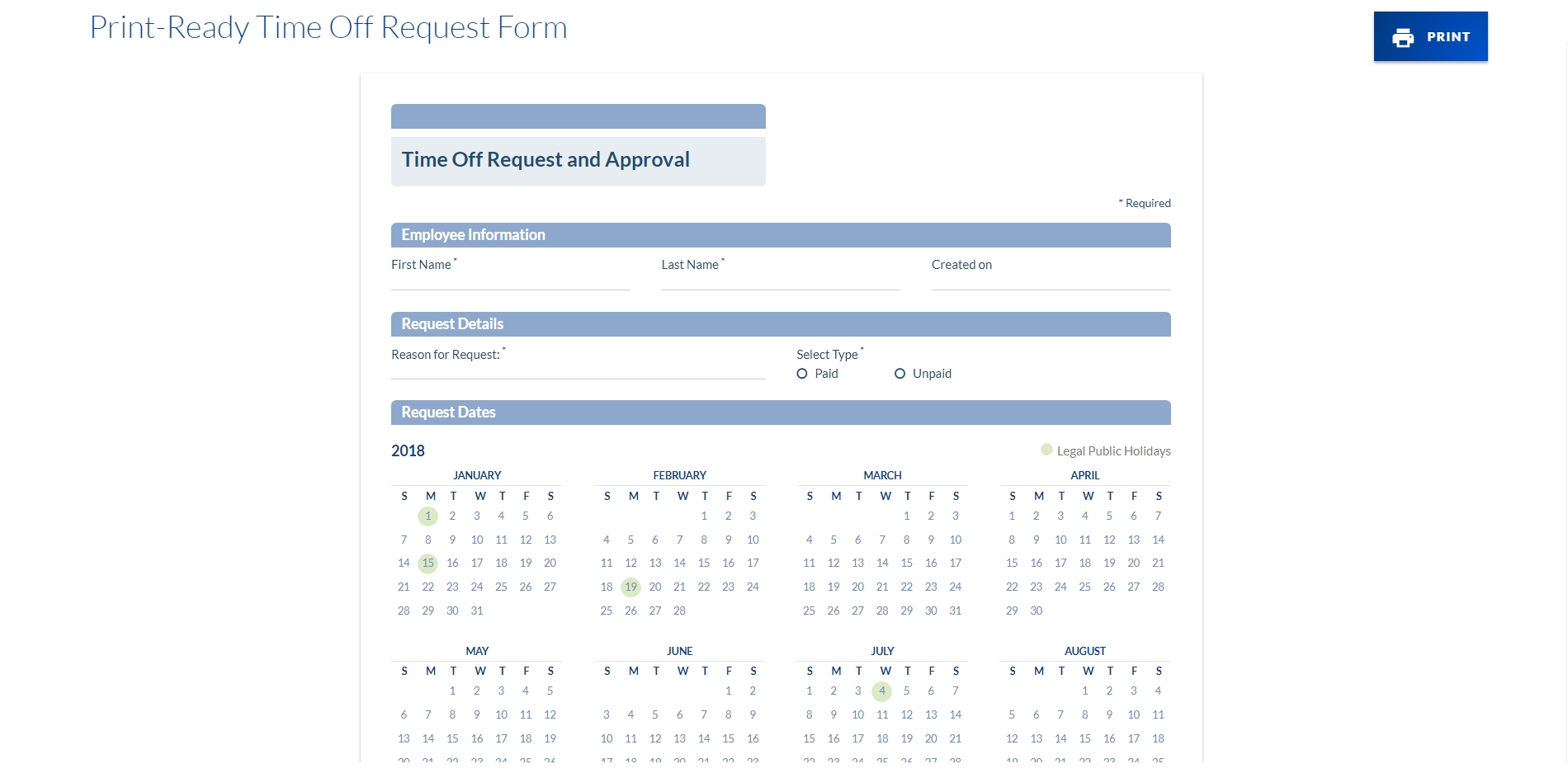 Employee Vacation Tracker & Time Off Request Manager for Calendar For Employees Vacation List