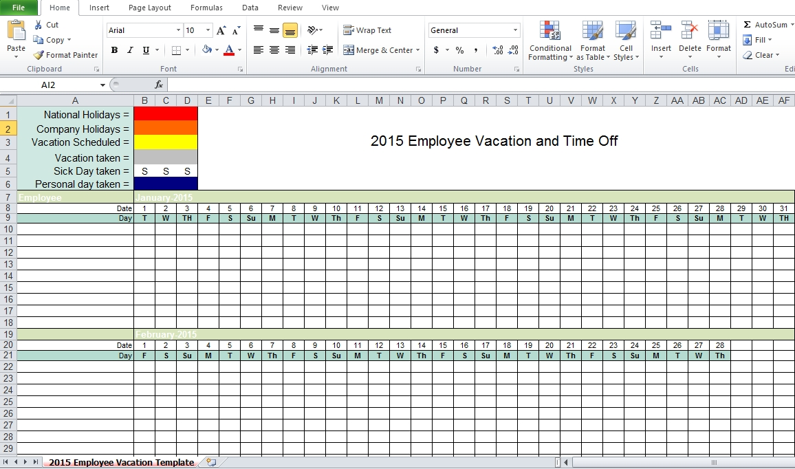 Employee Vacation Tracking Excel Template 2015 - Excel Tmp within Downloadable Employee Vacation Calendar 2015