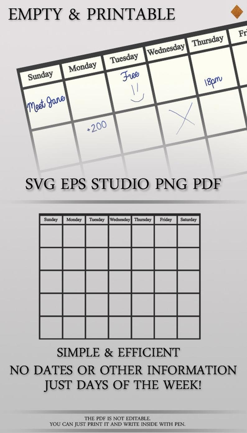 Empty Calendar Pdf Printable Monthly Calendar Editable | Etsy with regard to Calendar Weeks Printable No Datwes