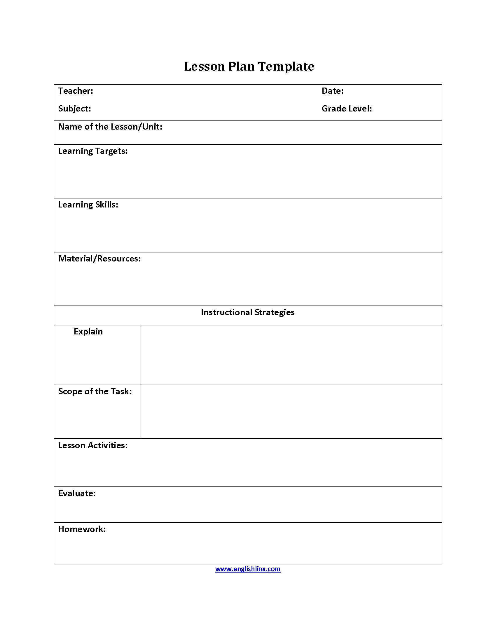 Englishlinx | Lesson Plan Template pertaining to Speech Language Lesson Plan Template