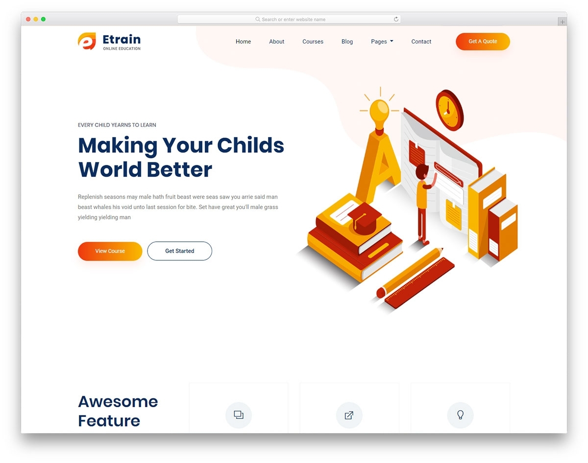 Etrain - Free Online Education Website Template 2019 - Colorlib intended for Free Templates Online For Children