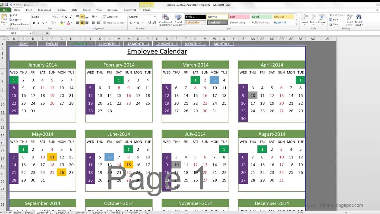 Event Calendar Maker (Excel Template) - Youtube regarding Examples Of Calendar Of Events