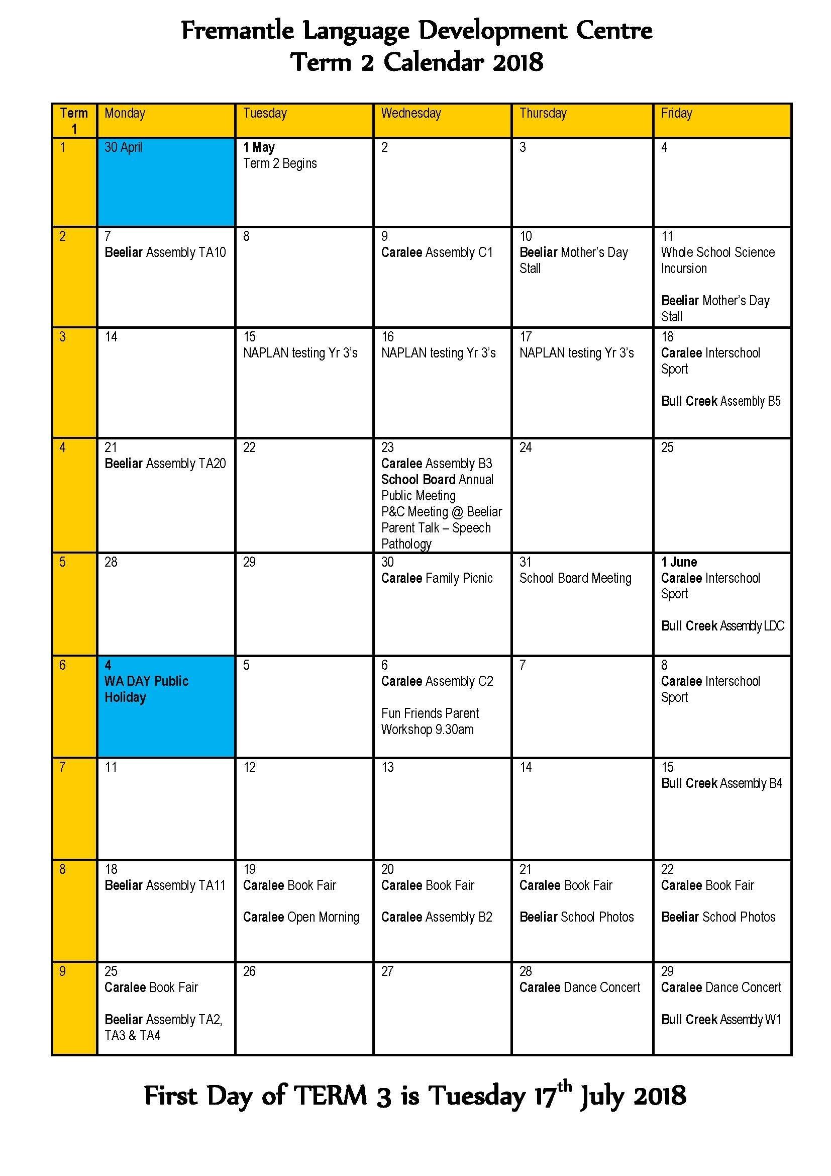 Event News: Term 2 Calendar 2018 – Fremantle Language Development Centre inside Calender Of Term 1 Events