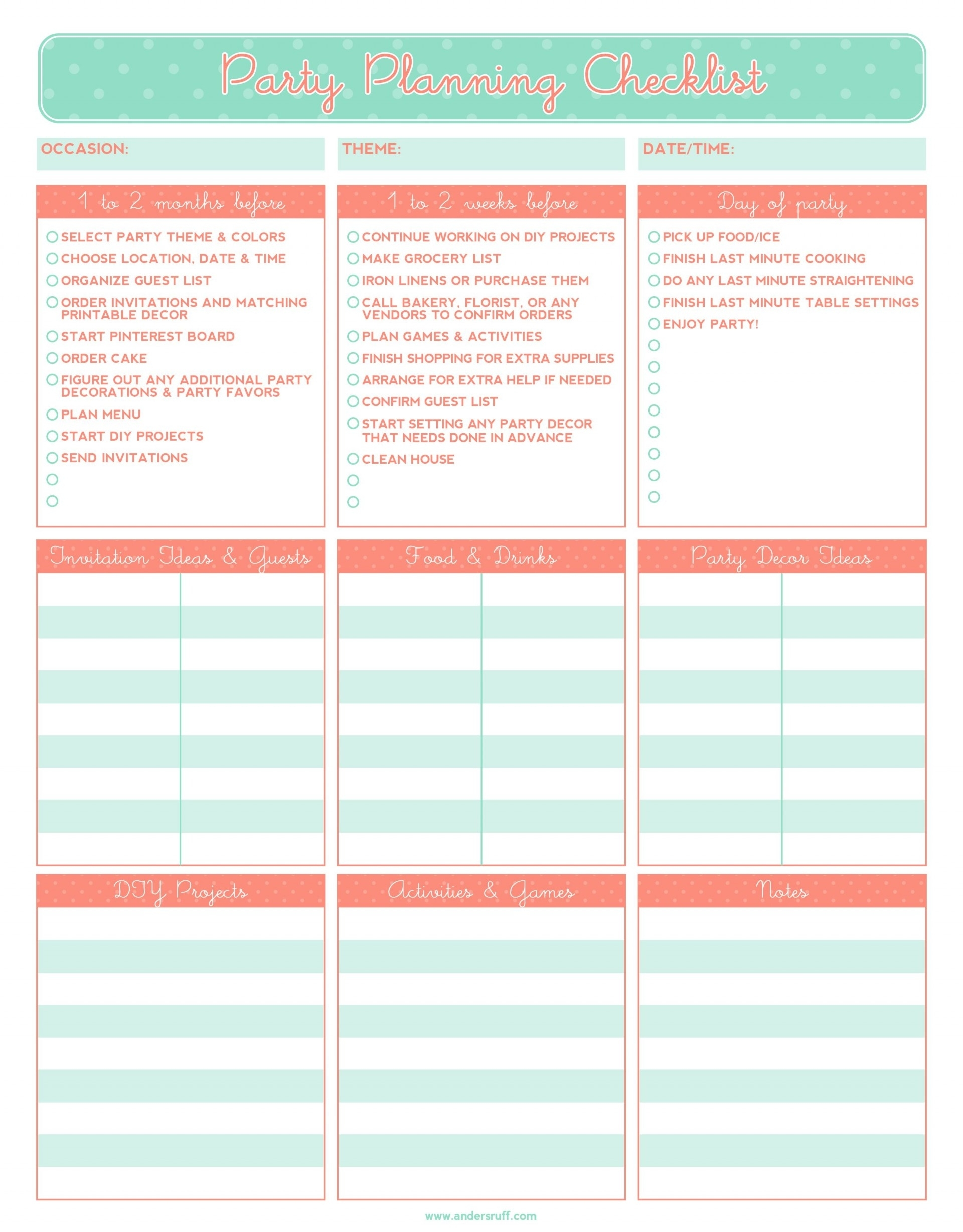 Event Planner Template Powerpoint Itinerary Doc Schedule Word Plan for Planning Date Night Checklist Template
