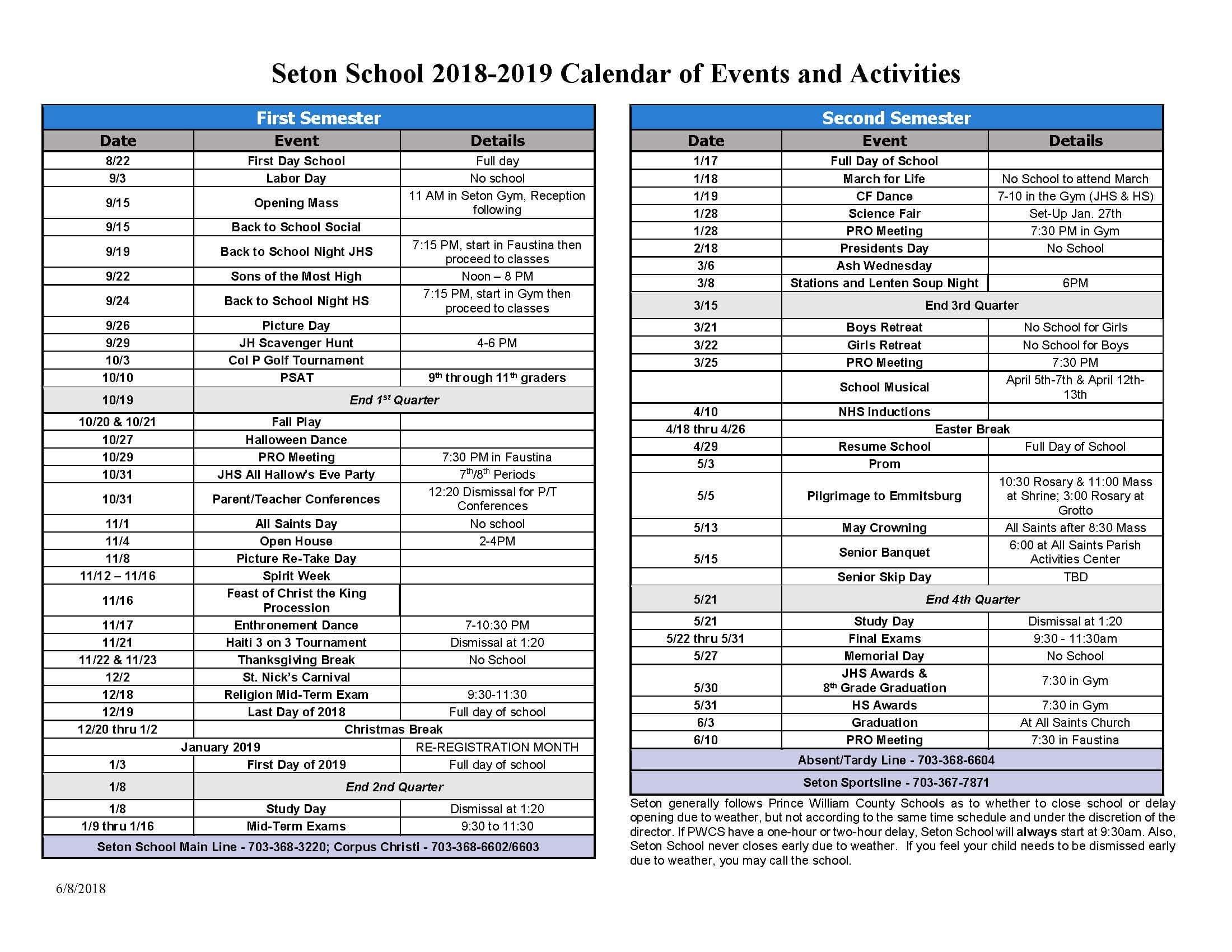 Events Calendar | Seton School Manassas within Calender Of Term 1 Events