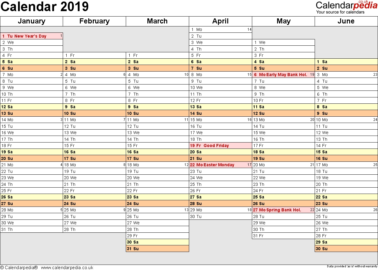 Excel Calendar 2019 (Uk): 16 Printable Templates (Xlsx, Free) for 6 Weeks Holiday Timeline Template