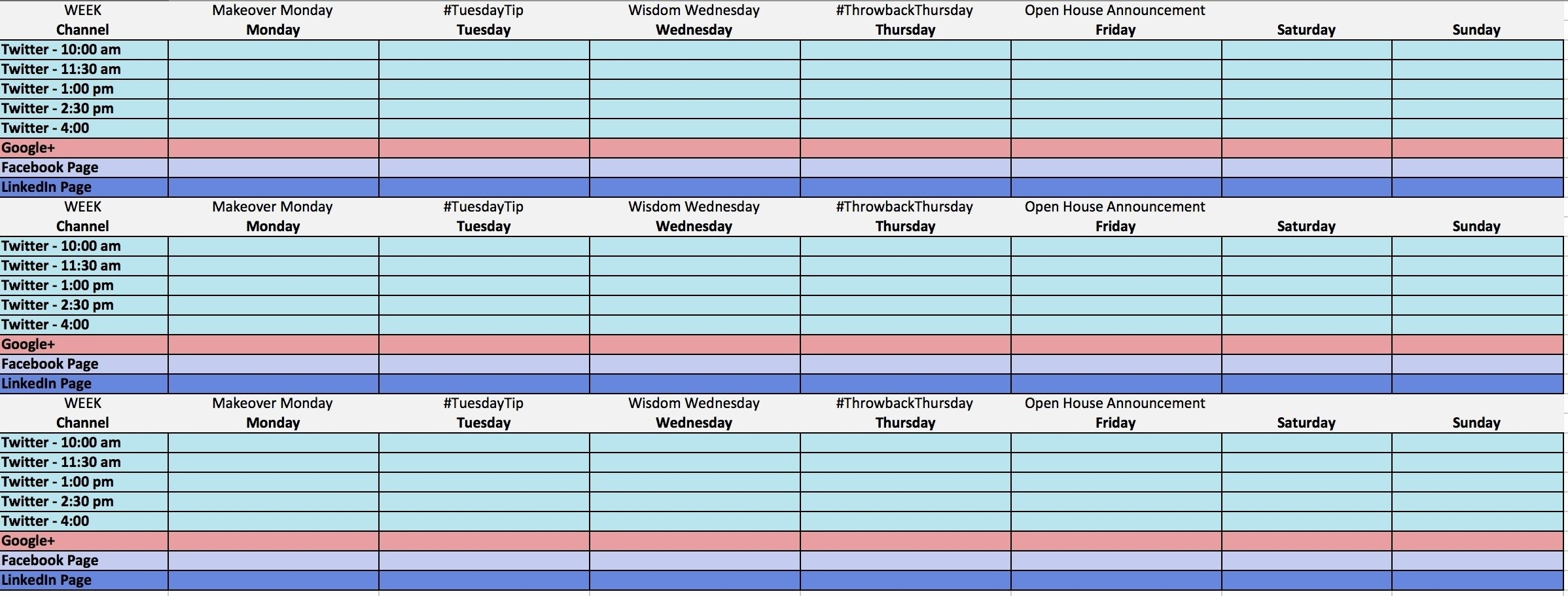 Excel Calendar Social Media Template | Excel Calendar Template with Social Media Content Calendar Excel Template Free