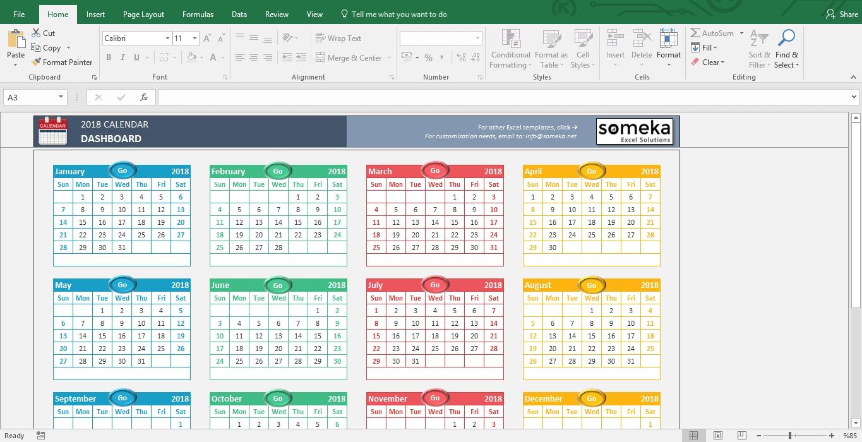 Excel Calendar Template 2019 - Free Printable Calendar throughout Free Printable Events Calendar Templates