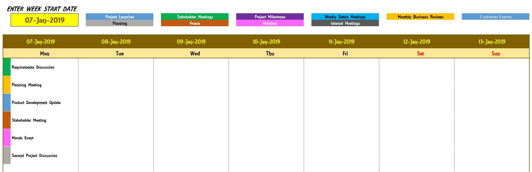 Excel Calendar Template - Excel Calendar 2019, 2020 Or Any Year pertaining to Template For Montlhy Calendar Of Events