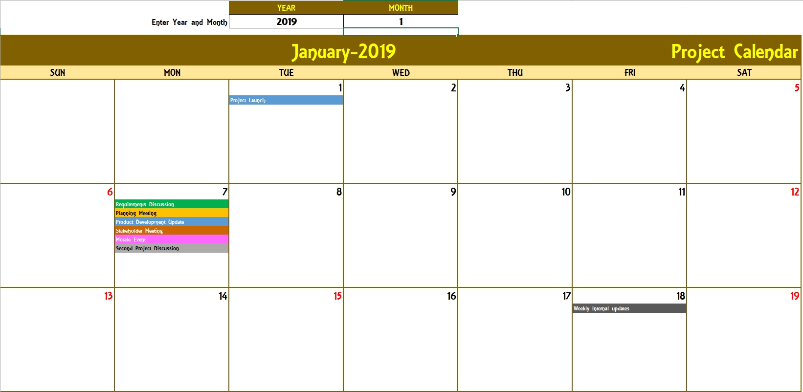 Excel Calendar Template - Excel Calendar 2019, 2020 Or Any Year throughout Monthly Calendar By Week Excel