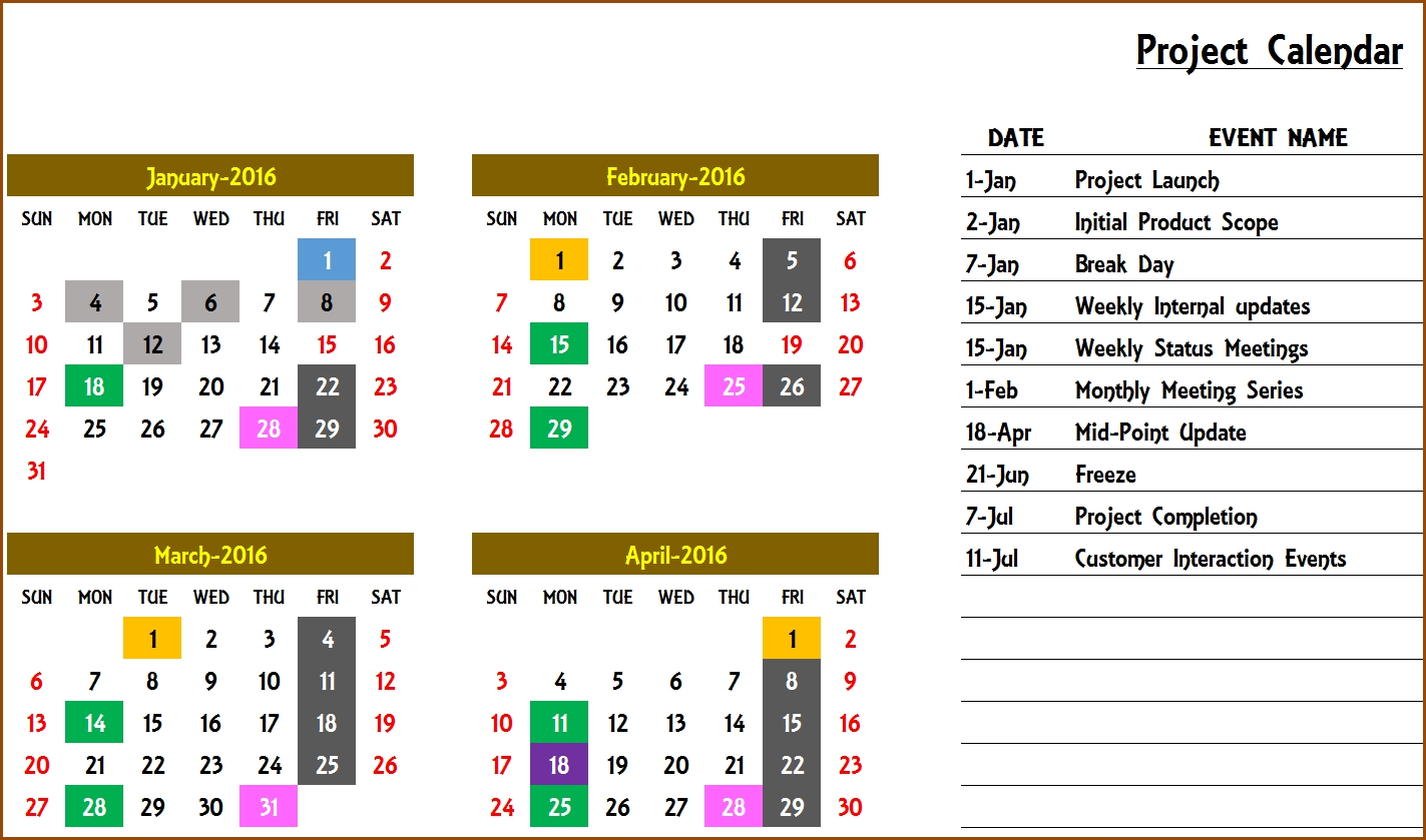 Excel Calendar Template Recurring Events   Excel Calendar Template intended for Template For An Event Calendar