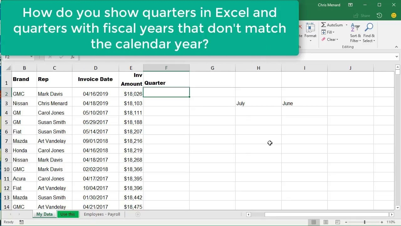 Excel Choose & Month Function For Quarters Where Fiscal Year Is Not with Fiscal Year Vs Calendar Year