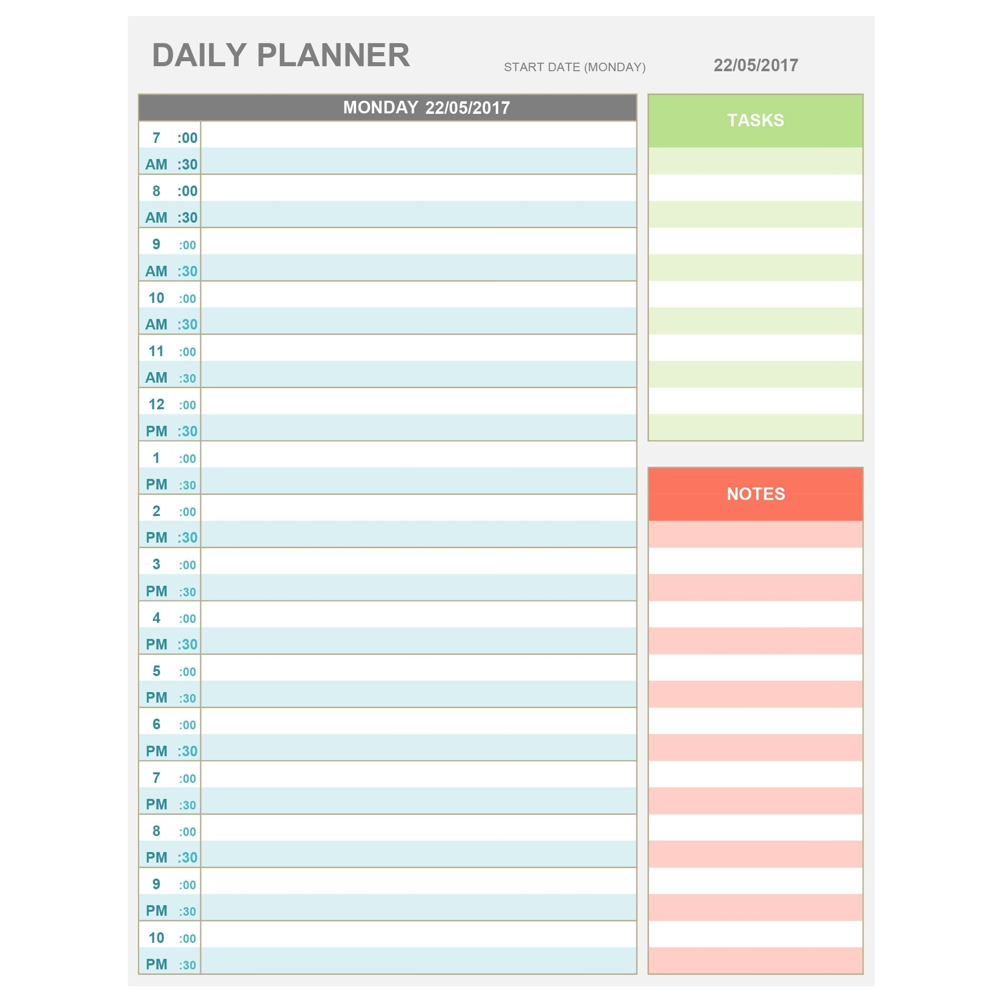 Excel Daily Hourly Planner Printable & Editable. Daily | Etsy regarding Free Printable Hourly Weekly Schedule Pdf