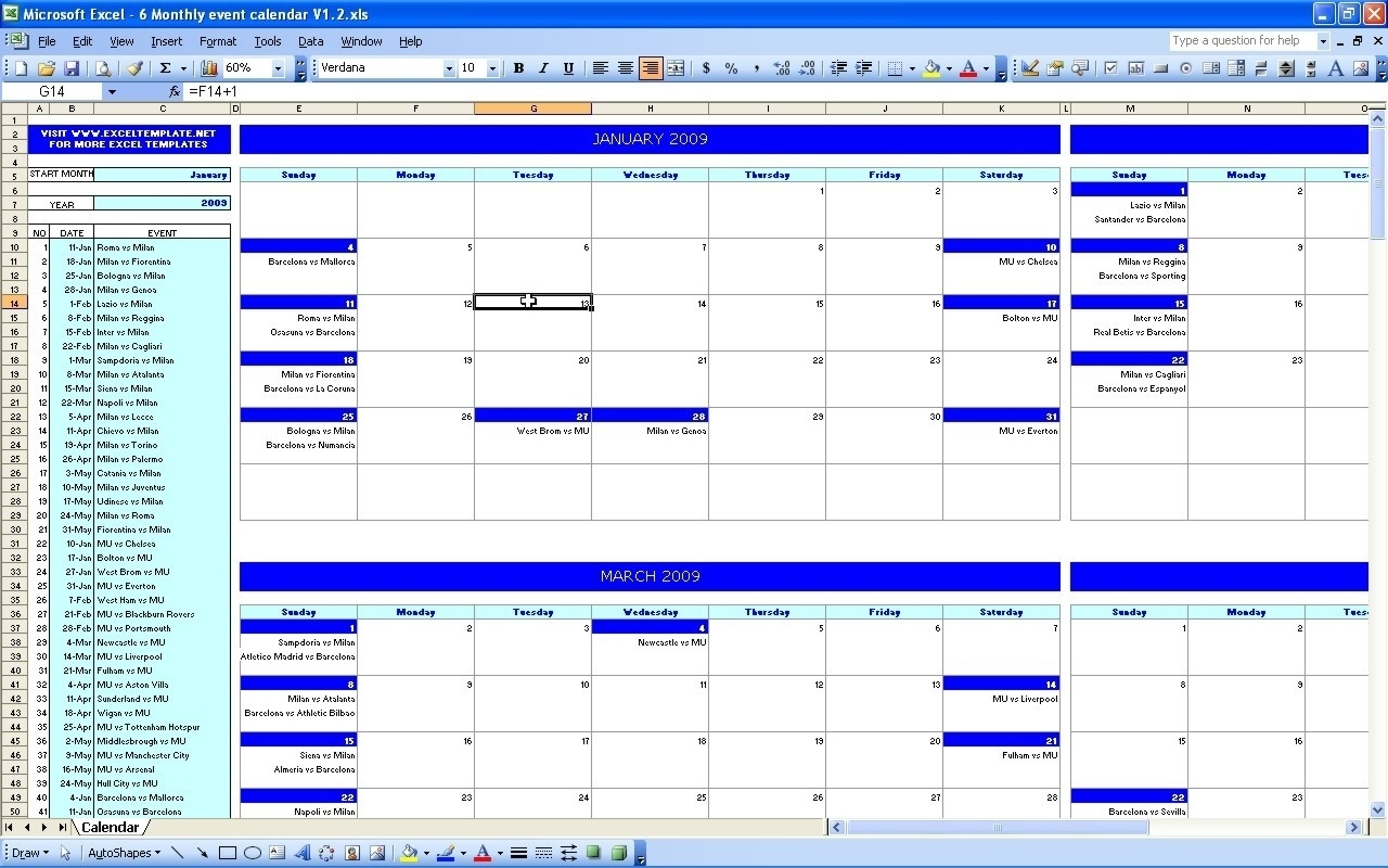 Excel Monthly Calendar Template Calendar Monthly Printable In Event in Template For Montlhy Calendar Of Events