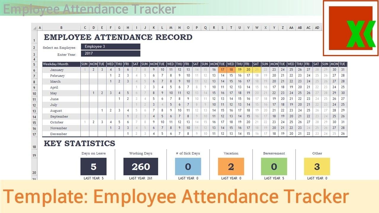 Excel Template - Employee Attendance Tracker - Youtube in Excel Employee Attendance Calendar Template