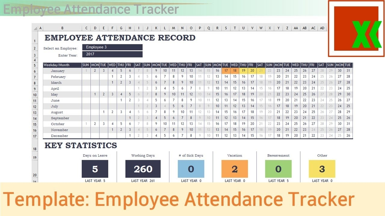 Excel Template - Employee Attendance Tracker - Youtube intended for Employee Annual Education Training Tracking Spreadsheet