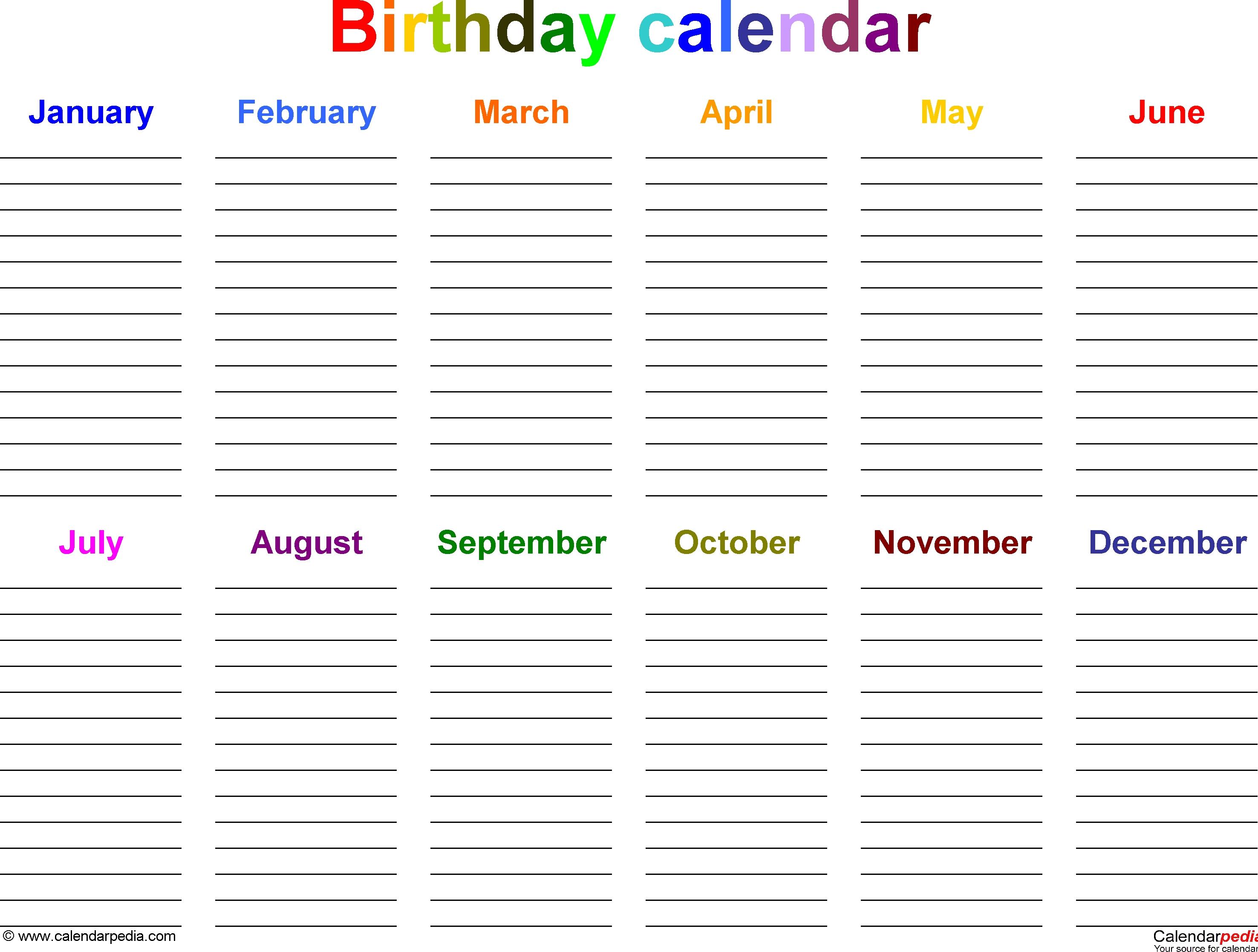 Excel Template For Birthday Calendar In Color (Landscape Orientation regarding Free 12 Month Birthday Calendar Template