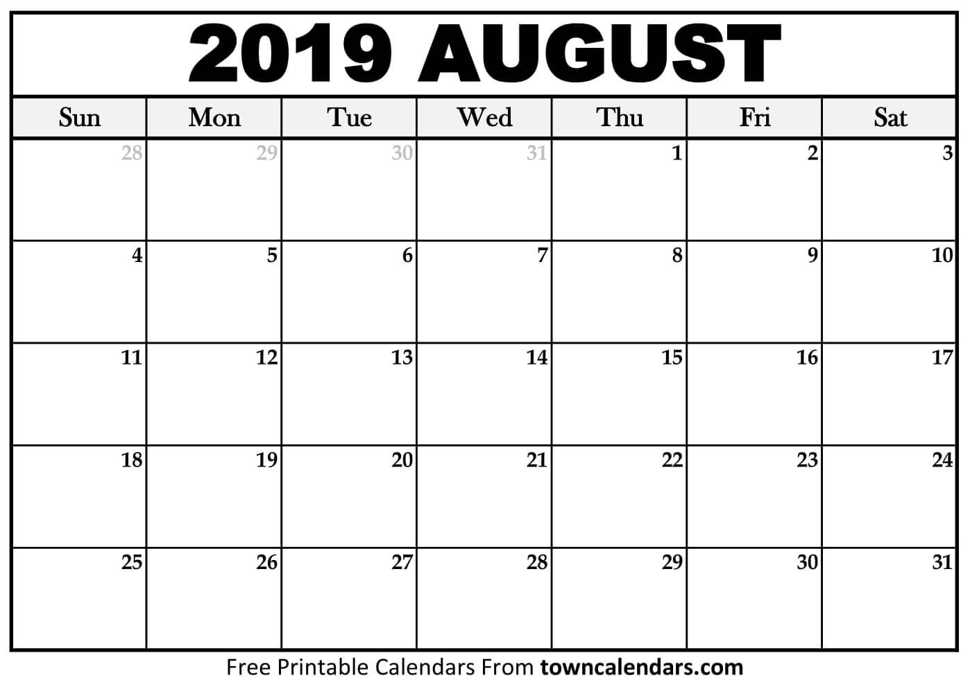 📆 Printable August 2019 Calendar - Towncalendars within Picture Of August On Calendar