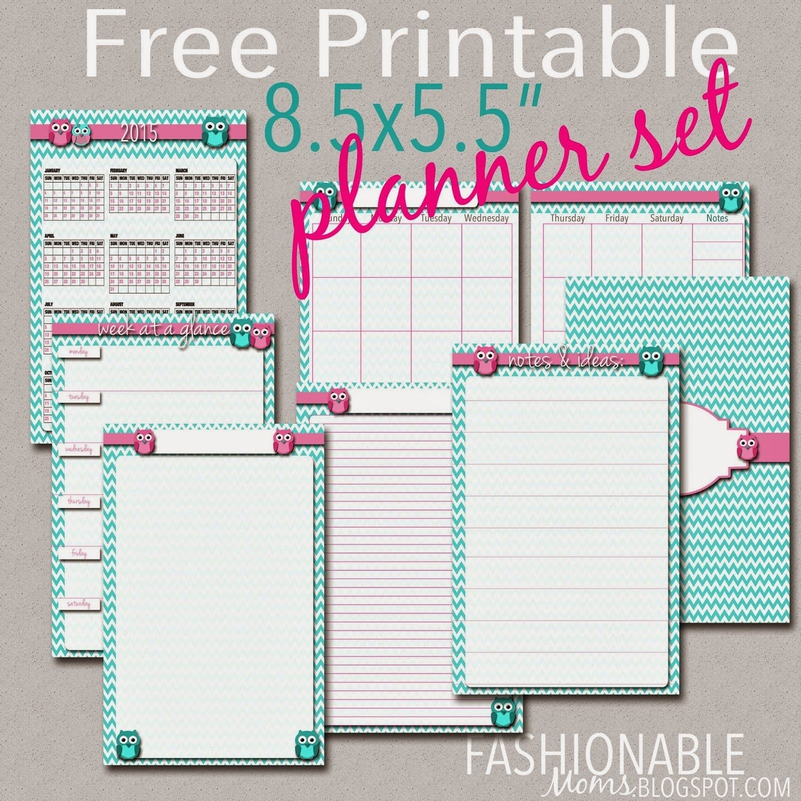Fashionable Moms: Free Printable Half Page Owl Planner Set   School for Free Printable Daily Planner Page Half