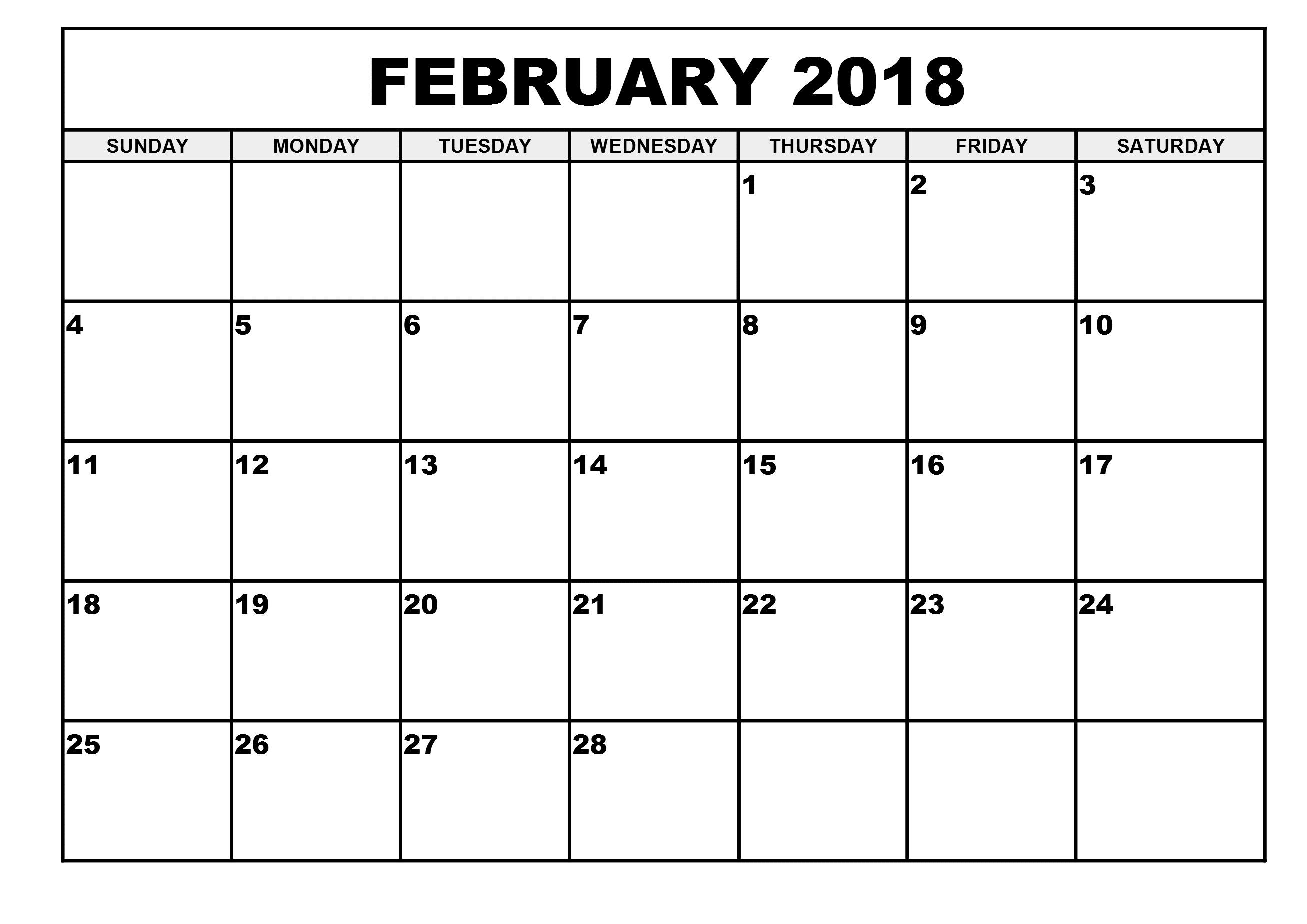 February 2018 Blank Printable Calendar February 2018 Calendar inside Full Size Blank Printable Calendar