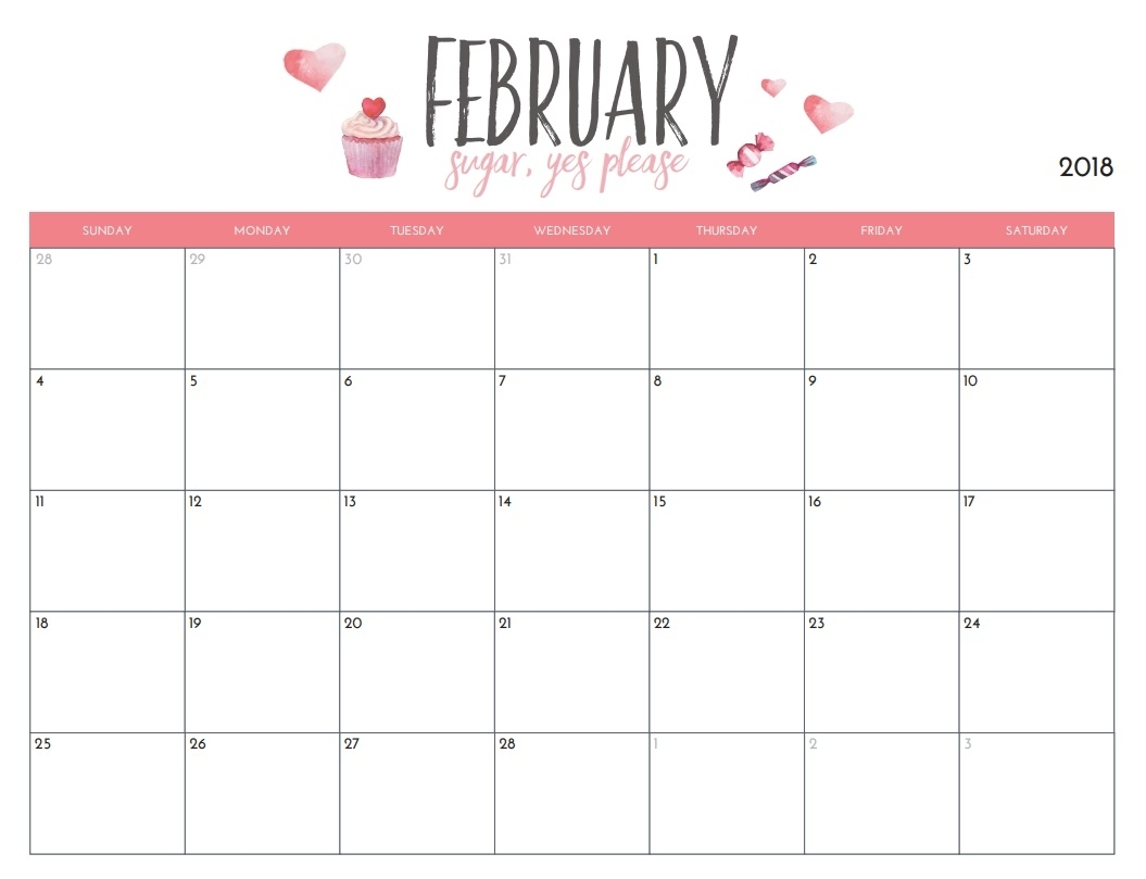 February 2018 Blank Template | Max Calendars inside Blank Screensaver Template To Print