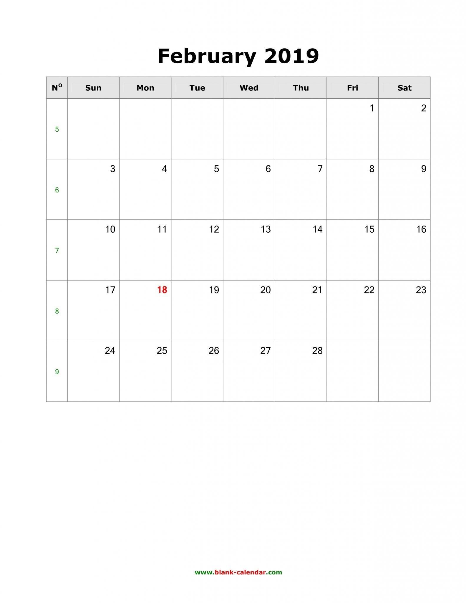 February 2019 Calendar A4 Size | Free Printable February 2019 throughout Full Size Printable Monthly Calendars