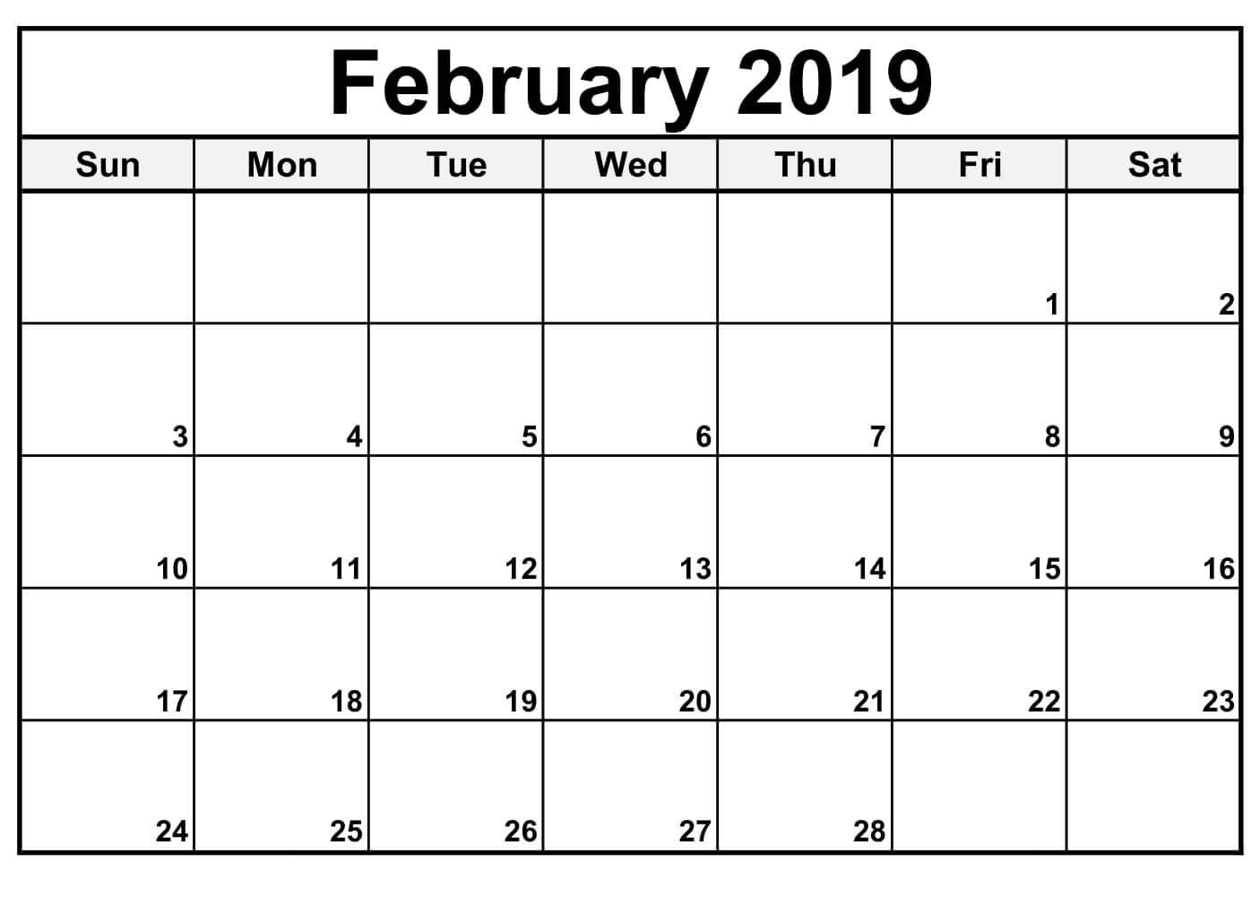 February 2019 Calendar Editable | Free Printable February 2019 pertaining to Free Fillable Blank Calendar Templates