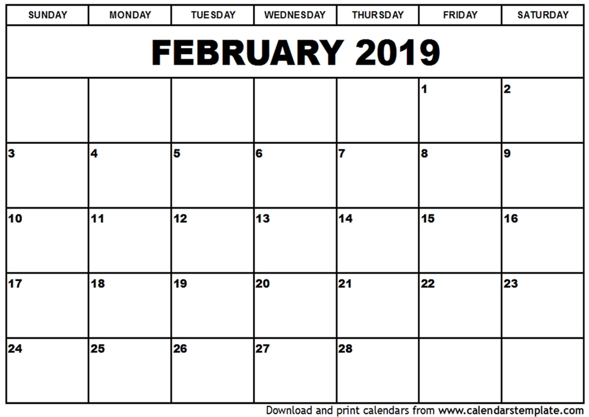 February 2019 Calendar Pdf | Year Printable Calendar for Print Blank Calendar Month By Month