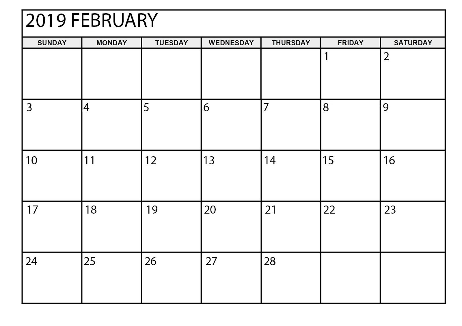 February 2019 Calendar Printable Large | February 2019 Calendar with Large Printable Blank Calendar Pages