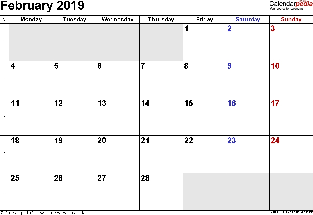 February 2019 Calendar Template | Printable Calendar Template intended for Calendar Template With 194 Days