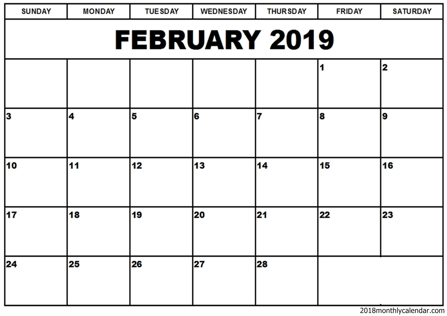 February 2019 Calendar Word Template | Free Printable Monthly with 12 Month Calendar Word Template