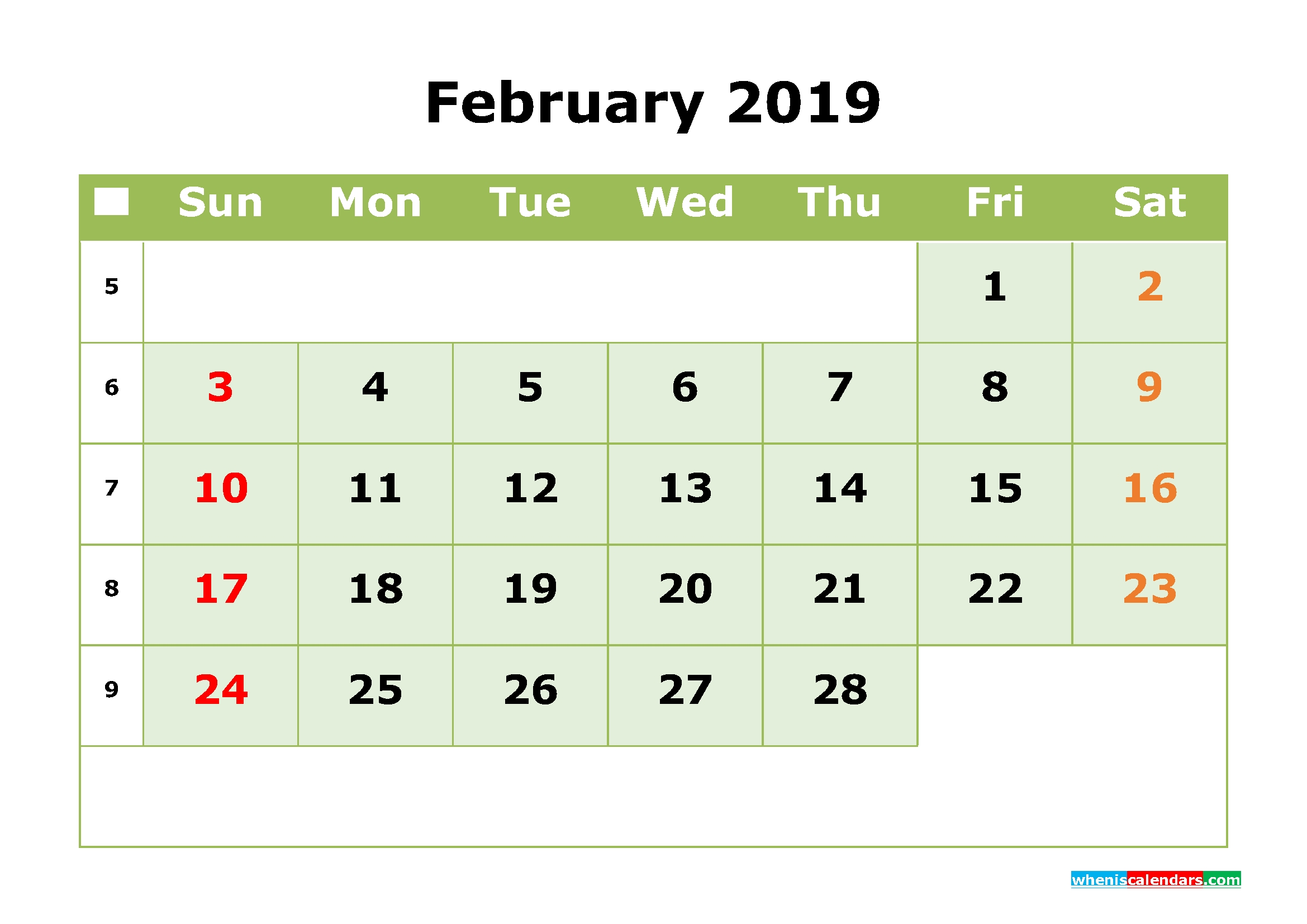 February 2019 Printable Calendar Monthmonth Calendar Template pertaining to Printable Calendar Month By Month