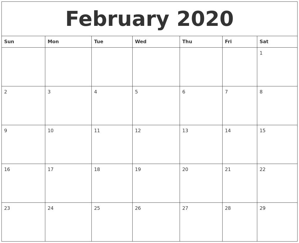 February 2020 Blank Printable Calendars intended for Blank Printable Calendar By Month
