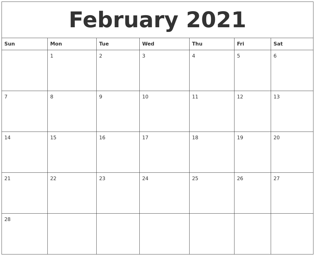 February 2021 Blank Monthly Calendar Template throughout Template For Calendar By Month