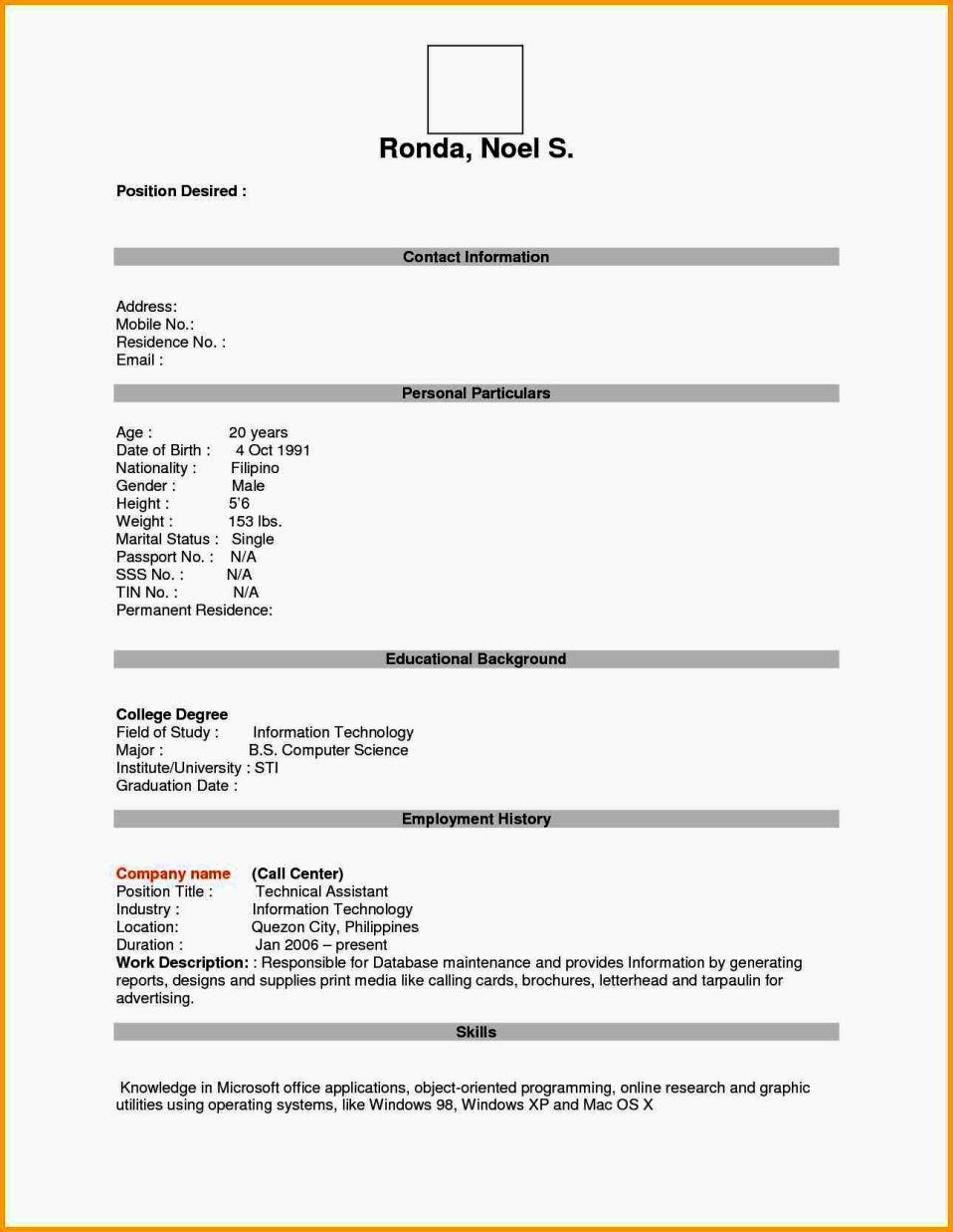 Fill In The Blank Resume Pdf Elegant Empty Resume Format Pdf Resume with Fill In The Blank Template