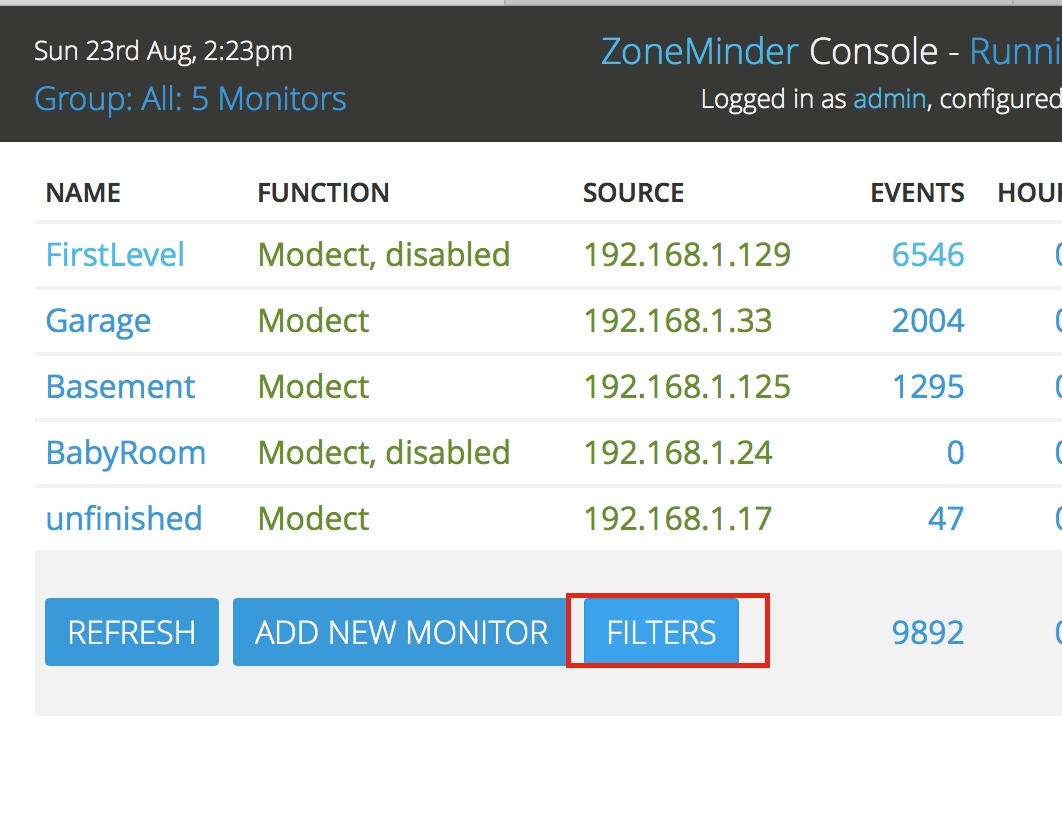 Filtering Events — Zoneminder Documentation inside Example Table For 1 Month 1 Week Event Process