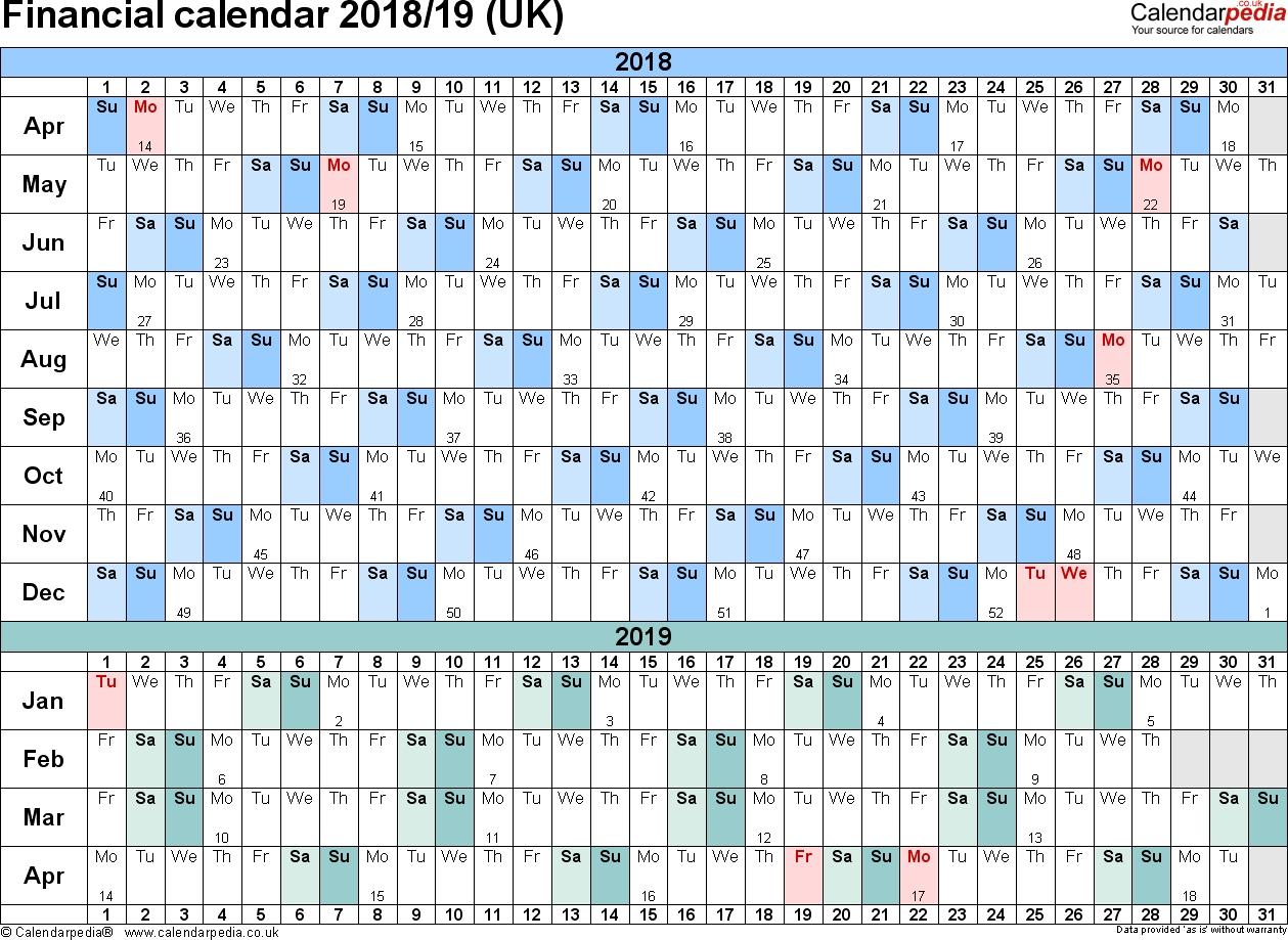 Financial Calendars 2018/19 (Uk) In Pdf Format intended for Network Rail Calendar Week Numbers
