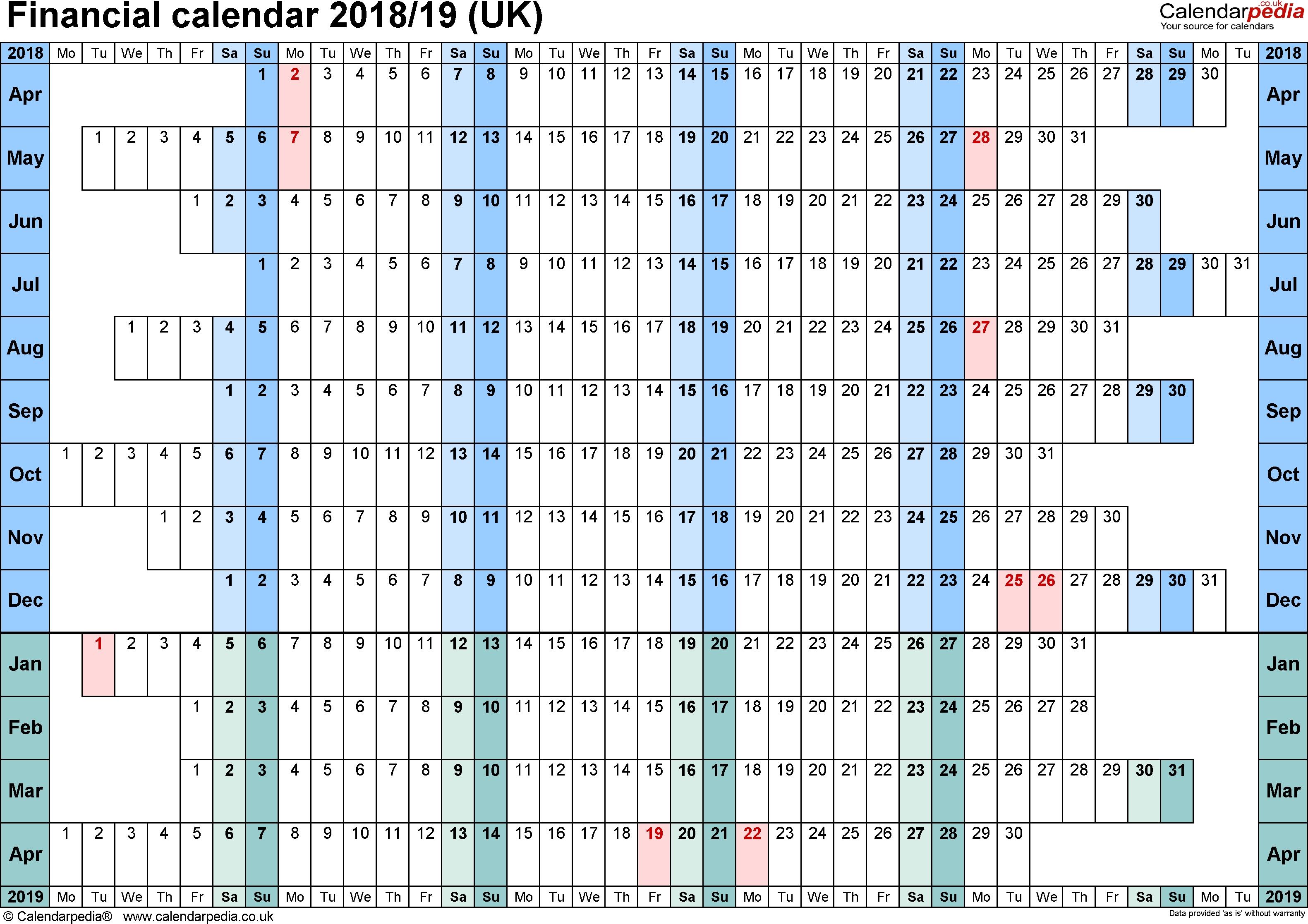 Financial Calendars 2018/19 (Uk) In Pdf Format with Network Rail Calendar Week Numbers