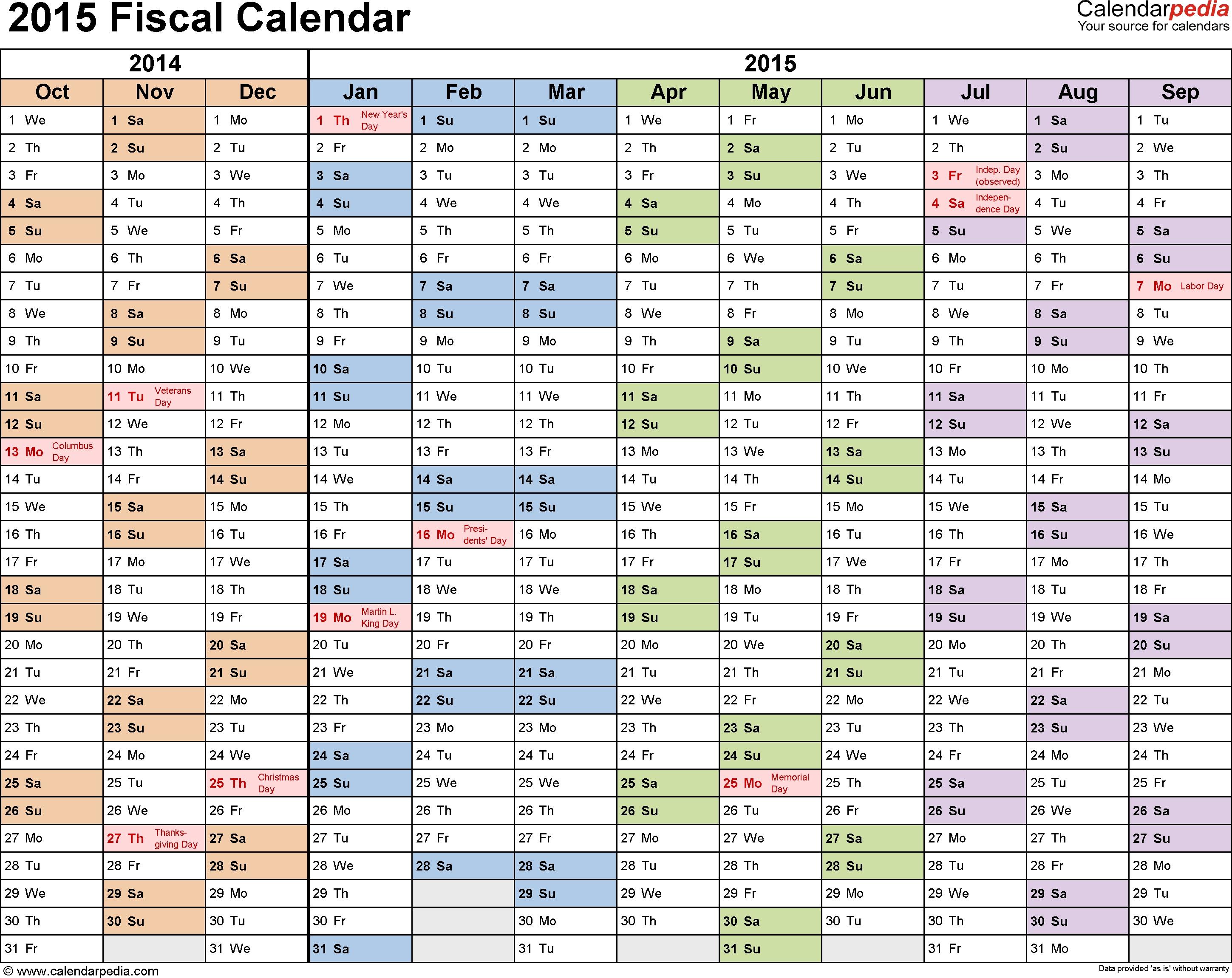 Fiscal Calendars 2015 As Free Printable Pdf Templates regarding Calendar Year Vs Fiscal Year