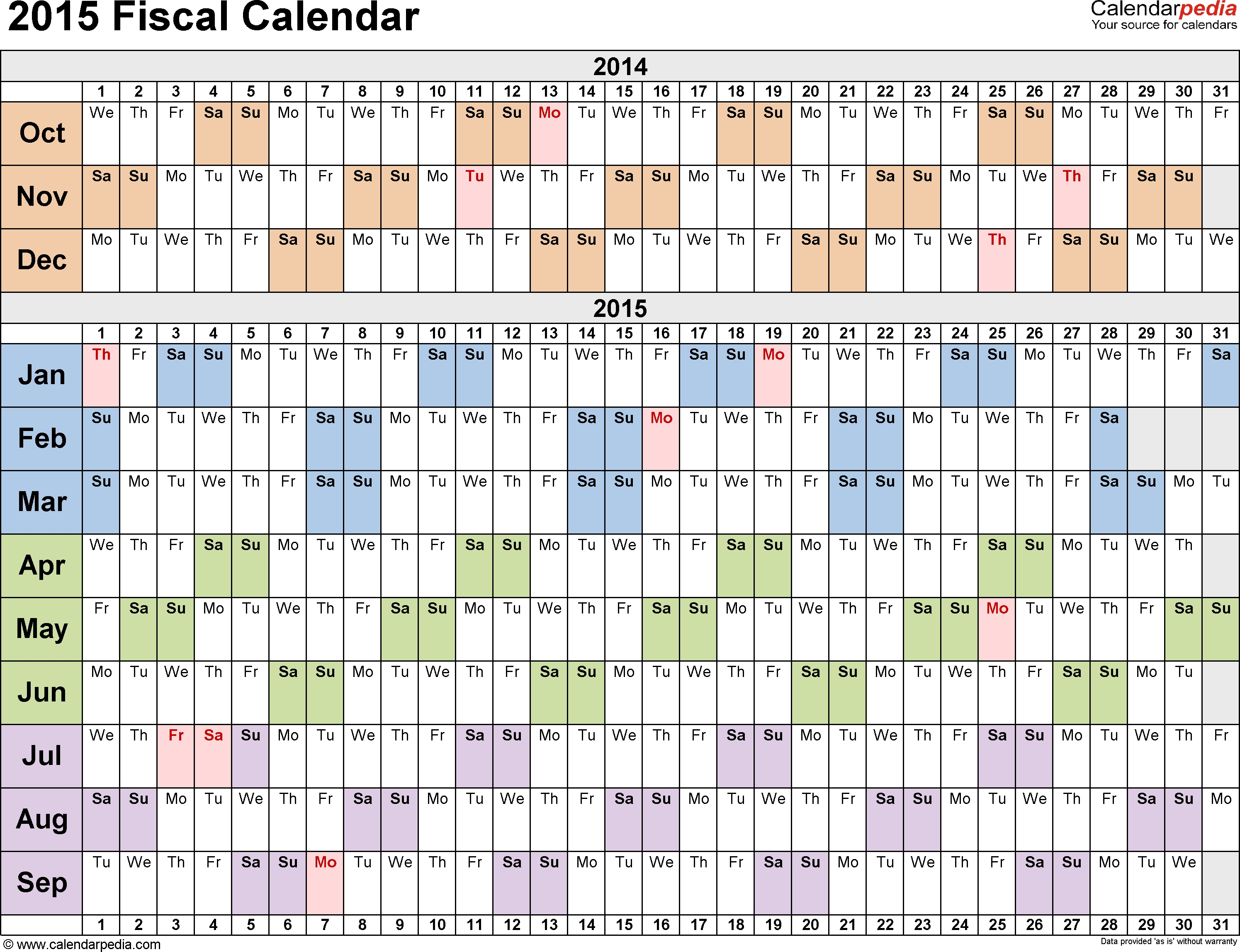 Fiscal Calendars 2015 As Free Printable Pdf Templates within Calendar Year Vs Fiscal Year
