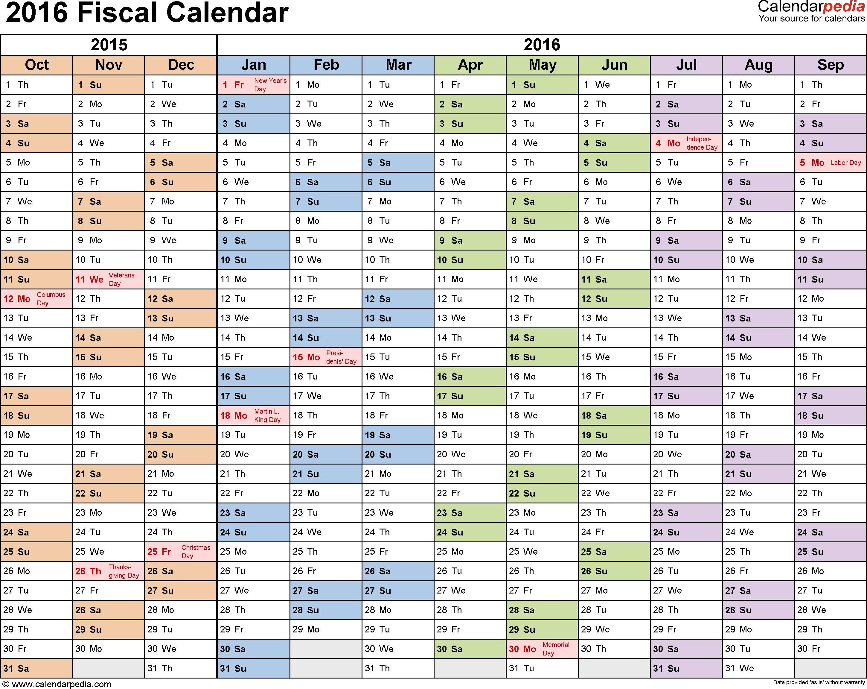 Fiscal Calendars 2016 As Free Printable Pdf Templates regarding Calendar Year Vs Fiscal Year