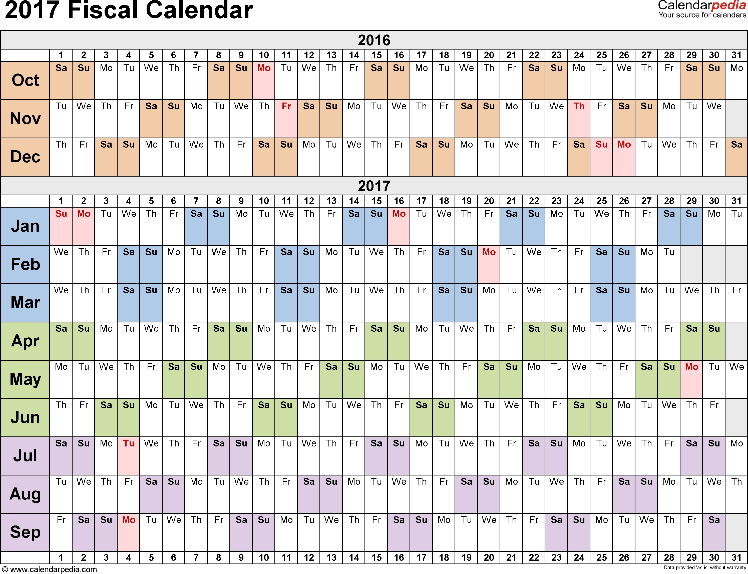 Fiscal Calendars 2017 As Free Printable Pdf Templates in What Day Is It Calendar