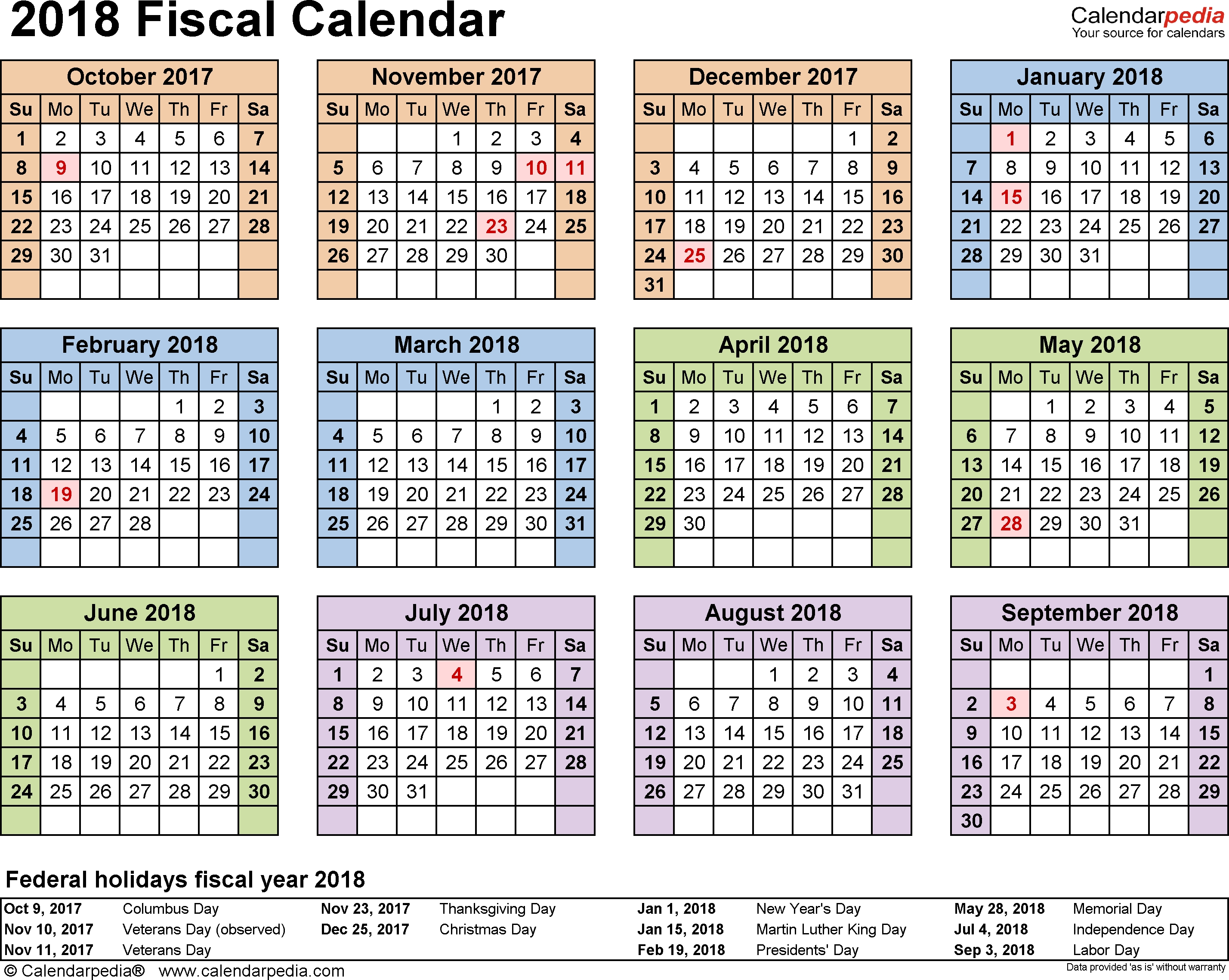 Fiscal Calendars 2018 As Free Printable Pdf Templates for Fiscal Year Vs Calendar Year